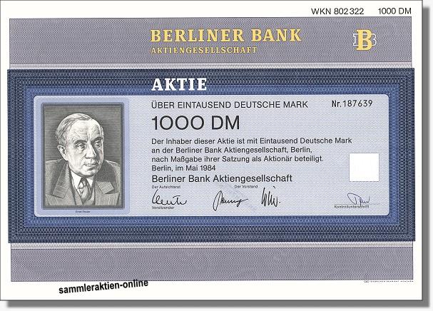 Berliner Bank Aktiengesellschaft Bseltene Unentwertete Versionb