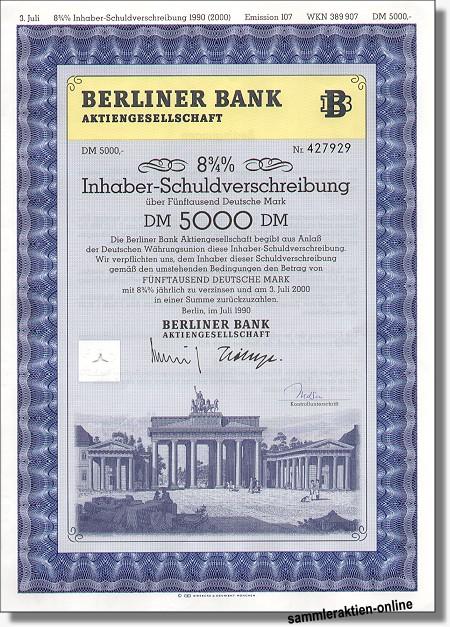 Berliner Bank Ag Inhaber Sv 875 Abb Brandenburger Tor Hahn