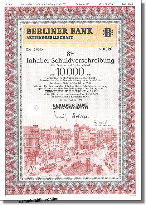 Berliner Bank Ag Inhaber Sv 8 Potsdamer Platz Hahn Historische