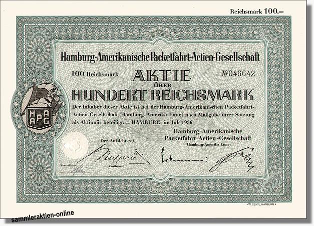 Hamburg Amerikanische Packetfahrt Actien-Gesellschaft - Hapag Lloyd