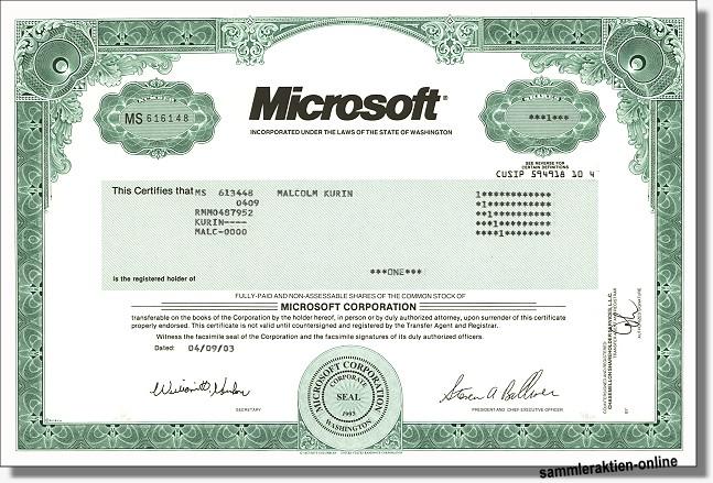 Aktien Microsoft