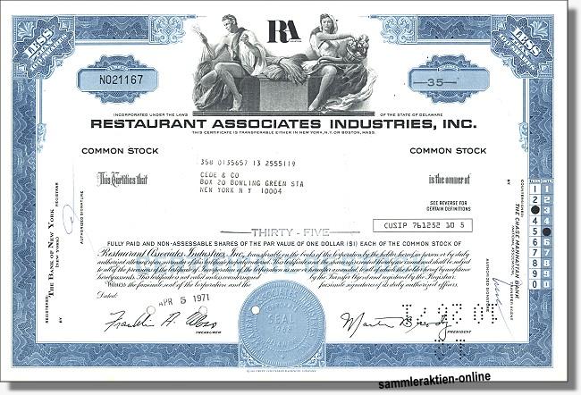 Restaurant Assocociates Industries Inc.