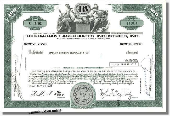 Restaurant Assocociates Industries Inc.