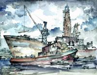 """Bild von E. Viehweger, """"Schichau-Werft"""" (1954)"""